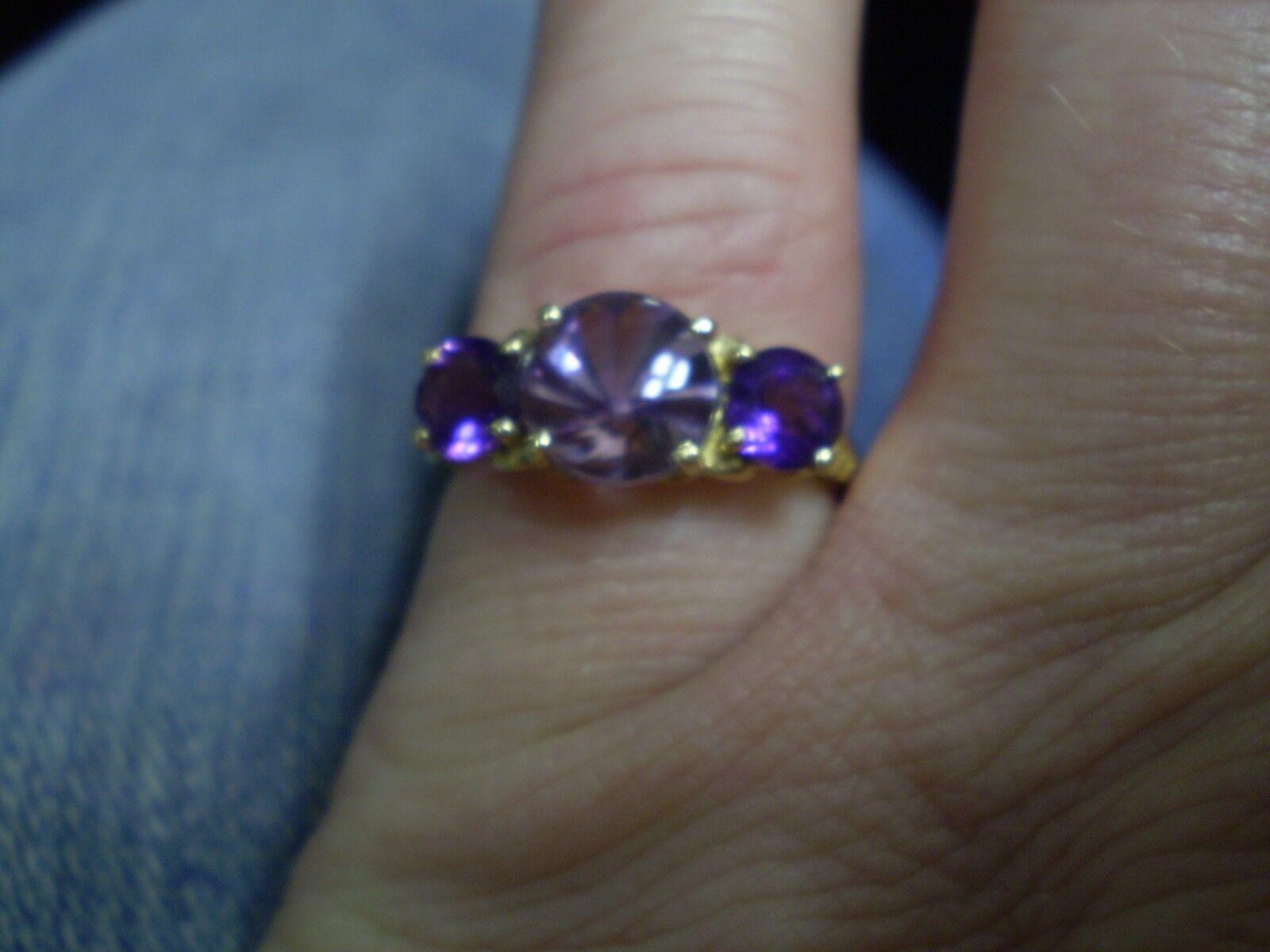 14K Yellow gold Ladies Ametrine & 2 Amethyst Ring   2.3 Grams