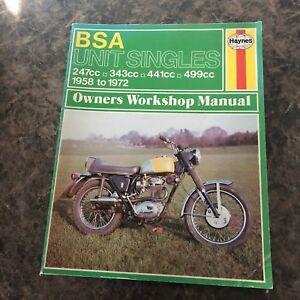 original bsa unit singles 247 499cc 1958 72 motorcycle owners rh ebay com BSA Single Cylinder Motorcycles BSA Single Cylinder Motorcycles