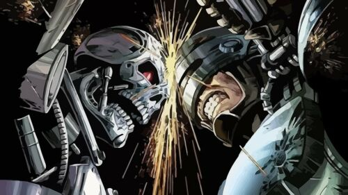 N715 Robocop vs Terminator Classic Movie Vintage Silk Poster 20x30 24x36/'/'