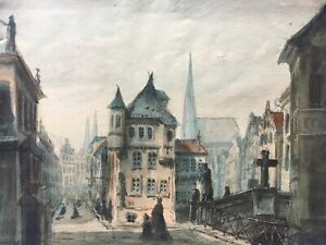 City-View-Watercolour-with-persons-churches-Southern-Germany-Vienna-1879-24-5-x-32-5