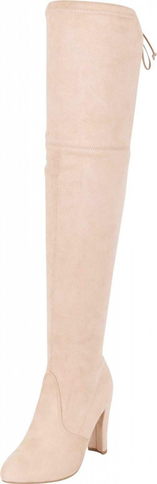Cambridge Select Women's Thigh-High Drawstring Tie High Heel Over The Knee Boot