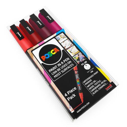PC-3M Art Marker Paint Pens Red Tones 4 Pack Wallet Uni POSCA