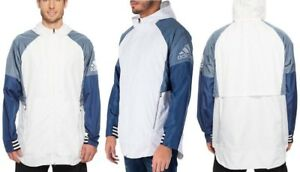 Details about adidas Men's ID Woven Shell Windbreaker LS Jacket (WhiteBlue, Large L) NEW+TAGS