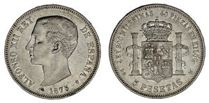5-SILVER-PESETAS-PLATA-DURO-MADRID-ALFONSO-XII-1875-VF-MBC-INTERESANTE