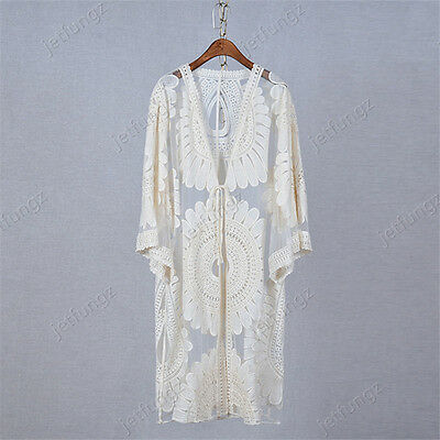 Sheer Embroidered Lace Crochet Victorian Boho Long Duster Cardigan Jacket Coat