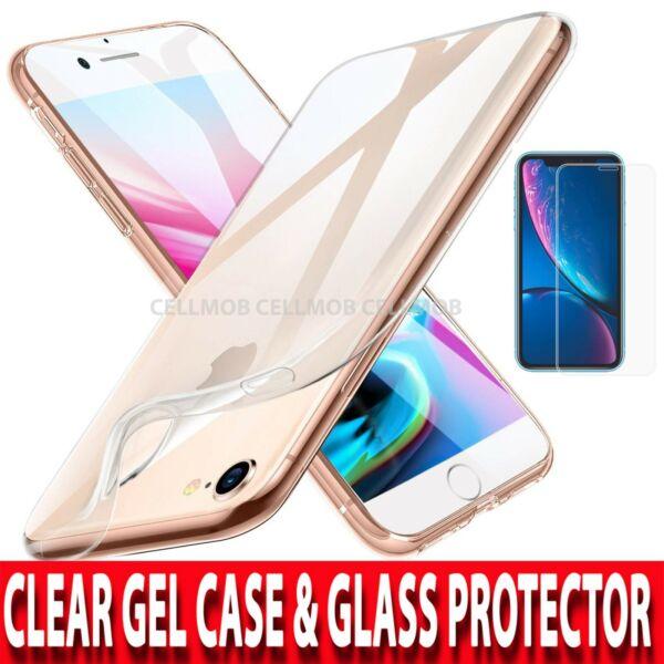 360 Coque Pour Iphone 7 & 8 Ultra Slim Clear Gel Housse & Protection D'écran Verre Brillant