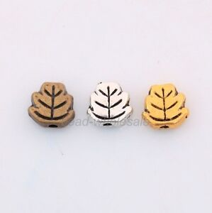 Wholesale-100-Pcs-Tibetan-Silver-Leaf-Spacer-Beads-Findings-7mm