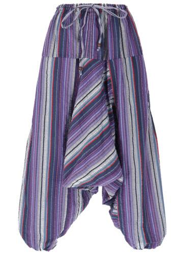 Luftige Goa Pluderhose lila gestreifte Aladinhose mit Tasche