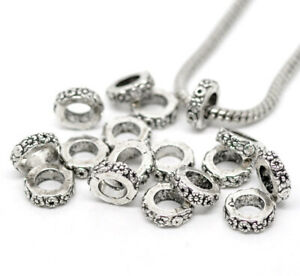 50Pcs-Big-Hole-Spacer-Beads-Charm-Large-Hole-Fit-Leather-European-Bracelets