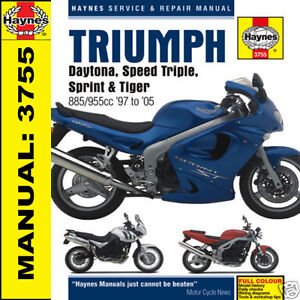 triumph daytona 955i sprint speed triple tiger t509 t595 haynes rh ebay com triumph daytona 955i manual pdf triumph daytona 955i 1999 manual