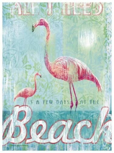 Buy 2 Get 3rd FREE! Vintage Flamingo at the Beach 8x10 Craft Fabric Block