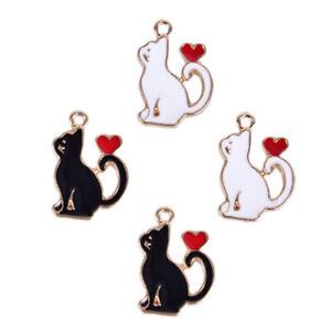 10Pcs-Set-Enamel-Alloy-Cat-Love-Heart-Charms-Pendant-Jewelry-DIY-Making-CraftRAS
