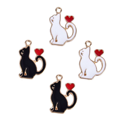 10Pcs//Set Enamel Alloy Cat Love Heart Charms Pendant Jewelry DIY Making CraftRKH