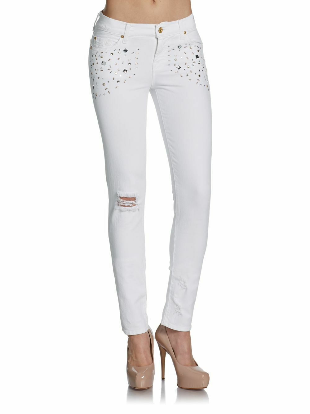 225 NWT 7 FOR ALL MANKIND Sz28 CIGARETTE EMBELLISHED SKINNY JEANS WHITE DESTROY