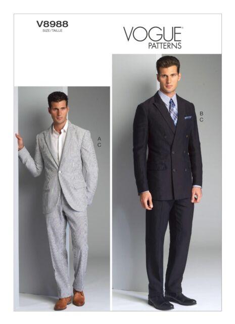 Vogue Mens Sewing Pattern 8988 Jacket & Trouser Suit 40 / 42 / 44 ...