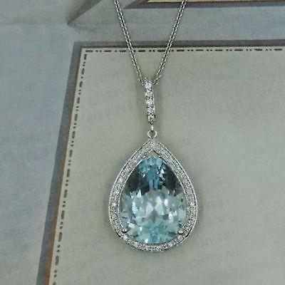 """2.5Ct Emerald Diamond Halo Pendant W//18/"""" Free Chain 14k White Gold Over"""