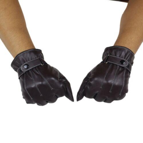 Luxury Mens Gloves PU Leather Cashmere Winter Warm Sport Driving Gloves Mittens