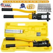 12 Ton Hydraulic Crimper Crimping Tool W 12 Dies Wire Battery Cable Lug Terminal