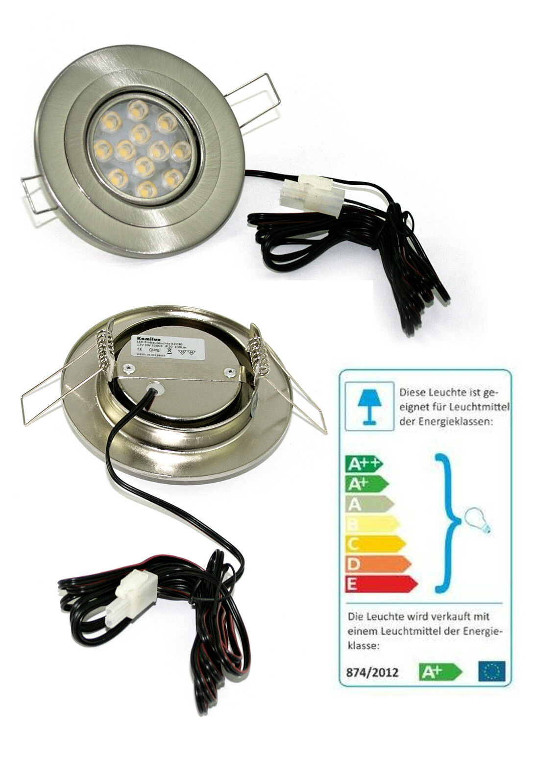 Flache LED Einbaustrahler 12V Eli 3W =25W geringe ET 1,5m Kabel ohne Trafo