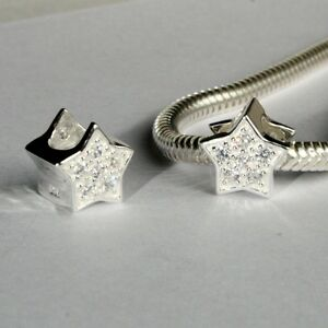 STAR-w-CZ-Christmas-European-charm-bead-Genuine-Solid-925-sterling-silver