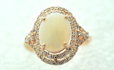 Opal Zirconia Ring Full Opal 925 Silver Red Gold Plated Size 52