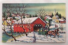Vintage Christmas Card People Sleigh Horse Bridge Creek House Church Snow Tree