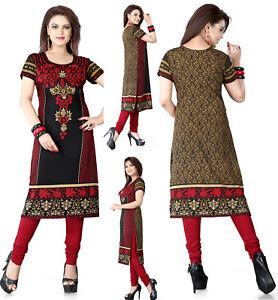 UK-sizes-8-24-Women-Printed-Indian-Long-Kurti-Tunic-Kurta-Top-Shirt-Dress-118A