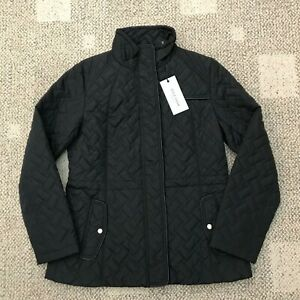 Cole-Haan-Womens-Full-Zip-Quilted-Barn-Jacket-Black-Size-Medium-M