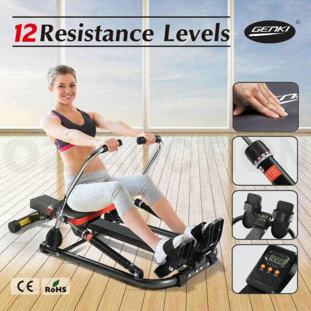 Genki Hydraulic Home Exercise Rowing Fitness Machine Gym Rower Abdominal