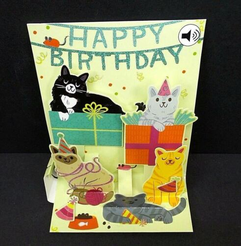 6 Of 7 Feline Birthday Greeting Card 3D Pop Up With Sound Effects Happy