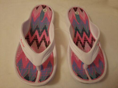 Nouveau Femme Casual Beach Retro Zig Zag Print Flip Flop Sandales Chaussures Tailles UK 3-8