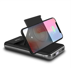 20000mAh-PowerBank-Qi-Wireless-Charger-Stand-2USB-LCD-Battery-for-Samsung-S9-S8