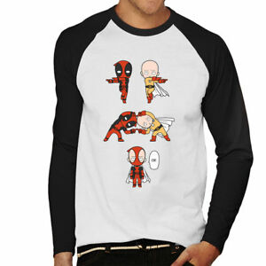 Deadpool-One-Punch-Man-Fusion-Men-039-s-Baseball-Long-Sleeved-T-Shirt