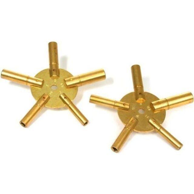 Universal Brass Clock Winding Key - Even Sizes 2 4 6 8 10 - Odd Sizes 3 5 7 9 11