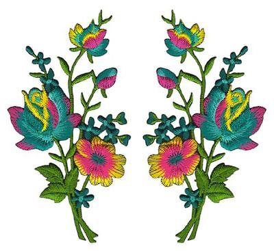 ac70 Blumen Set 2 Stück Aufnäher Bügelbild Patch Applikation Strauß 5,5 x 11 cm