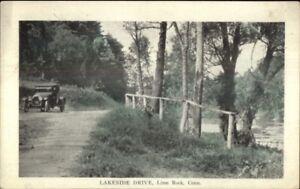Lime-Rock-CT-Old-Car-Lakeside-Drive-c1920-Postcard