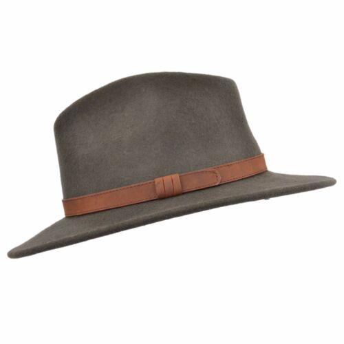 Herren Knautschfähig Dunkelgrün 100/% Wollfilz Trilby Fedora Hut mit Leder Typ
