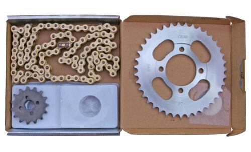 gold chain 1983-2003 Choho chain /& sprocket kit to fit Honda C90 Cub
