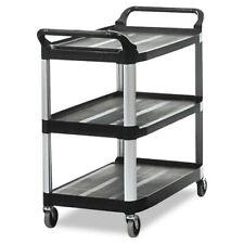 Rubbermaid Commercial 409100bla Open Sided 3 Shelf Utility Cart Black New