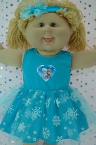 Play-n-Wear-Dolls-Clothes-For-16-034-Cabbage-Patch-AQUA-SNOWFLAKE-DRESS-HEADBAND