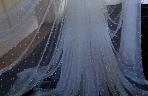 "20 /""white tulle silver   pearl beaded fabric bridal Wedding fabric 60/""wide sari"