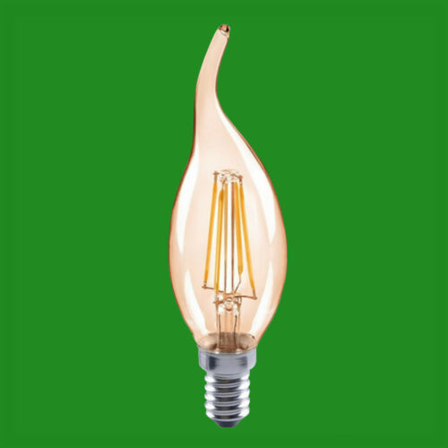 6x 4W =33W LED Filament Candle Gold Bent Tip Candle Light Bulbs SES E14 Lamps