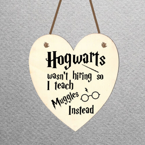 Personalised Heart Shaped Wooden Hanging Plaque Harry Potter Teachers Present