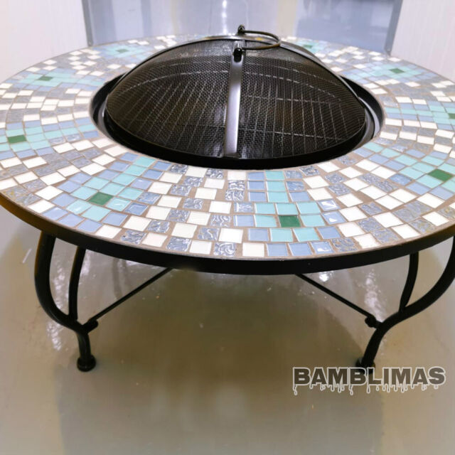 VonHaus Geo Fire Pit Decorative Brushed Bronze Steel with Spark Guard and Poker