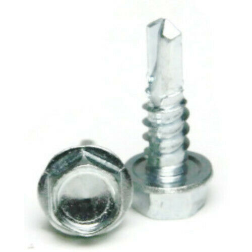 """Zinc Plated Steel Hex Washer Head Select Size 1//4/"""" Self Drilling Screws"""
