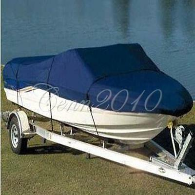 """210D Blue Waterproof Boat Cover 17 18 19 FT 95""""-Beam Trailerable Runabout"""