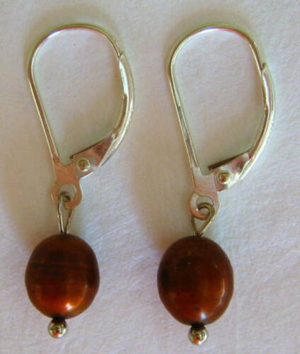 Sterling Silver Chocolate Pearl Lever-back Earrings