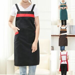 Women-Casual-Solid-Cooking-Chef-Kitchen-Restaurant-Bib-Apron-Dress-Pocket-Apron