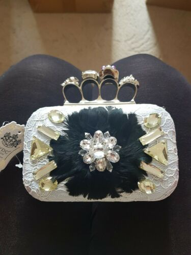 Wedding Prom Party Lace silver Black feather gold Clasp Clutch Evening Handbag