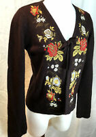 Anthropology Sleeping On Snow Brown Floral Embroidered Sweater Cardigan Medium